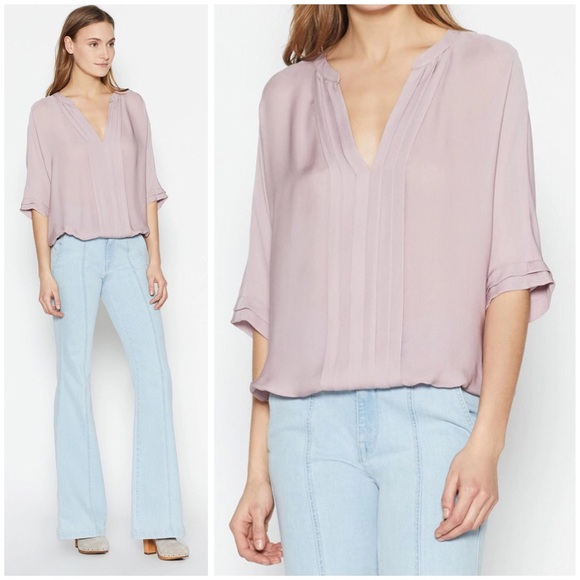 323ab36f002657 Joie Tops | Marru Pintucked Silk Blouson Top In Mauve | Poshmark